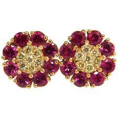 2.51 Carat Natural Fancy Yellow Diamonds Ruby Cluster Earrings 14 Karat