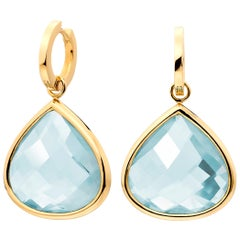 Lilly Hastedt 18 Karat Yellow Gold Aquamarine Hoop Earrings