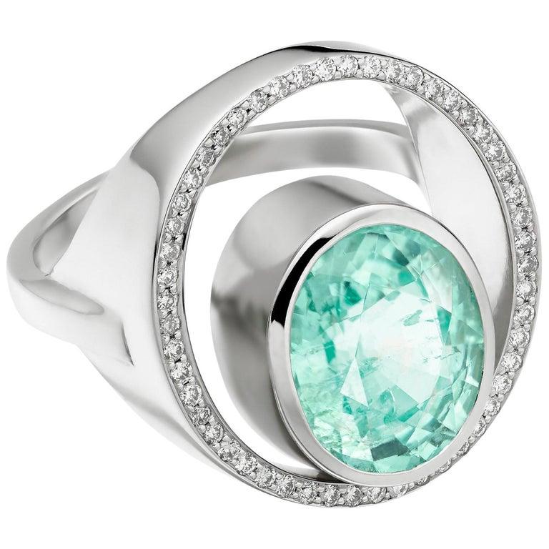 Gold Paraiba Tourmaline Diamond Cocktail Ring