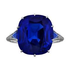 9.33 Carat Antique Cushion Cut Unheated Sapphire Diamond Platinum Ring