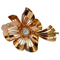 .25 Carat Diamond Brooch Pin Retro 18 Karat