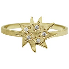 Emily Kuvin Gold and Diamond Organic Star Shape Stackable Ring