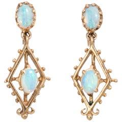 Opal Drop Earrings Vintage 14 Karat Gold Estate Fine Jewelry Screw Backings
