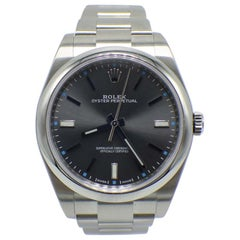Rolex Oyster Perpetual 114300 Stainless Dark Rhodium Dial Box and Papers