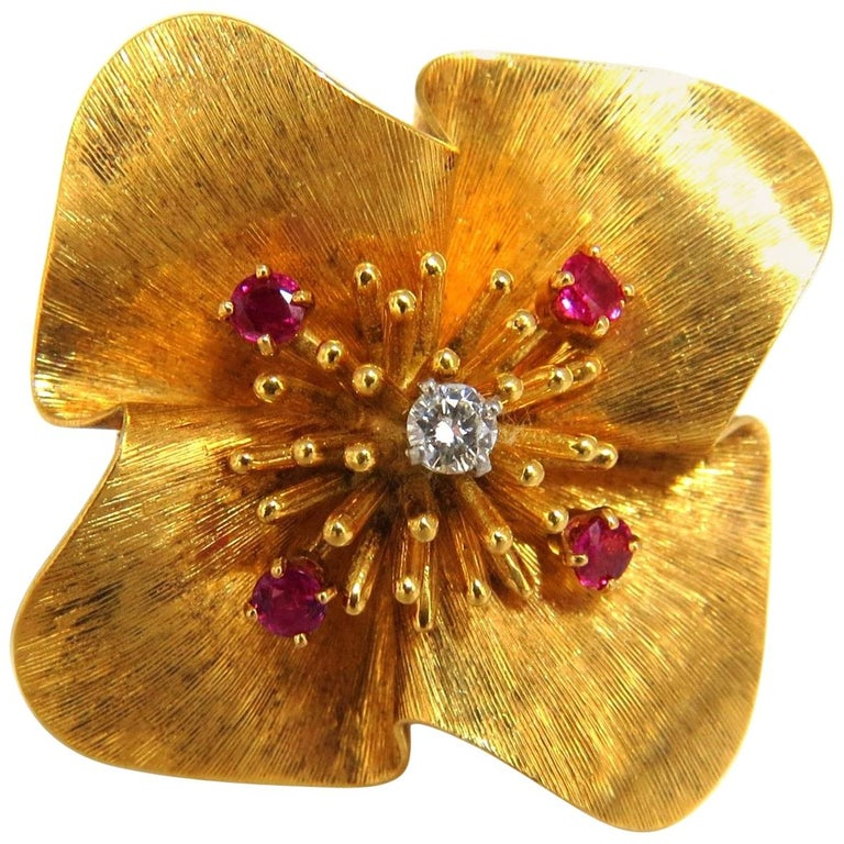 Clover Ruby Diamonds Brooch Pin 14 Karat Vintage