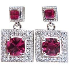 2.82 Carat Natural Tourmaline Ruby Diamond Dangle Earrings 14 Karat