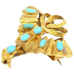 Solid 18 Karat Yellow Gold Victorian Turquoise Mourning Pin 7.0g