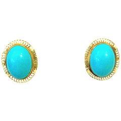 14 Karat Framed Persian Turquoise Pierced Earrings