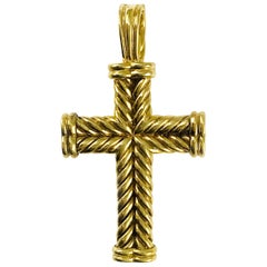 David Yurman 18 Karat Gold Cable Cross Pendant