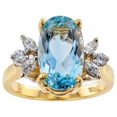 Aquamarine Diamond Yellow Gold Ring