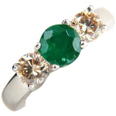 1.90 Carat Natural Round Emerald Fancy Color Brown Diamonds Ring 14 Karat Gold