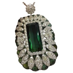 Tourmaline Diamonds Pendant Set in Platinum