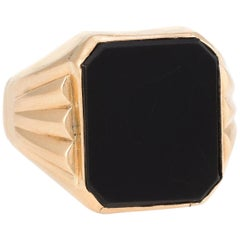 Men's Onyx Cocktail Ring Vintage 18 Karat Yellow Gold Estate Fine Jewelry