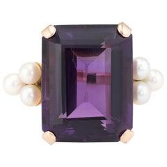 Large African Amethyst Cultured Pearl Cocktail Ring Vintage 14 Karat Gold Estate