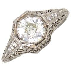 Art Deco Diamond Platinum Ring 1.53 Old European Cut Diamond GIA Certified