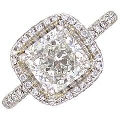 GIA Certified 2.26 Carat Radiant Diamond Platinum Halo Engagement Ring F/SI1