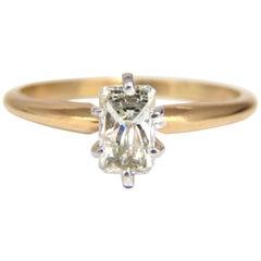 .75 Carat Classic Raised Solitaire Longer Radiant Cut Diamond Ring 14 Karat