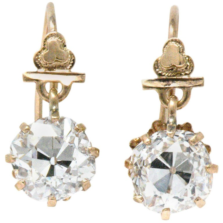 Victorian 2.08 Carat Diamond 10 Karat Rose Gold Drop Earrings GIA
