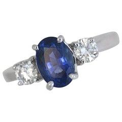 2.23 Carat TW Blue Sapphire Three-Stone Diamond Engagement Ring, Ben Dannie