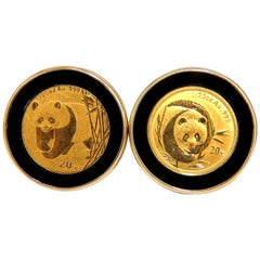 .999 Coin Panda 1/20 Natural Jet Black Onyx Rim Clip Earrings 14 Karat Chinese