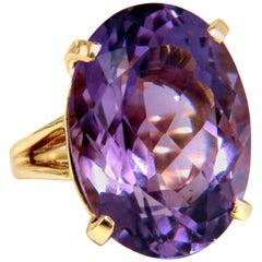 23 Carat Natural Purple Amethyst Ring 14 Karat