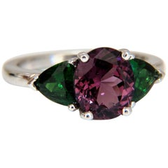 2.94 Carat Natural Vivid Purple Spinel Green Tsavorite Ring 14 Karat