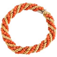 Van Cleef & Arpels Coral Gold Rope Twist Bracelet