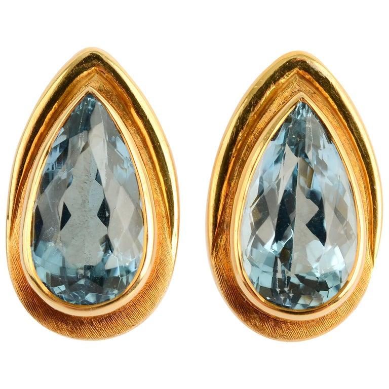 Haroldo Burle Marx Blue Topaz Gold Earrings For Sale