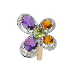 Zorab Creation Amethyst, Citrine and Peridot Graceful Butterfly Ring