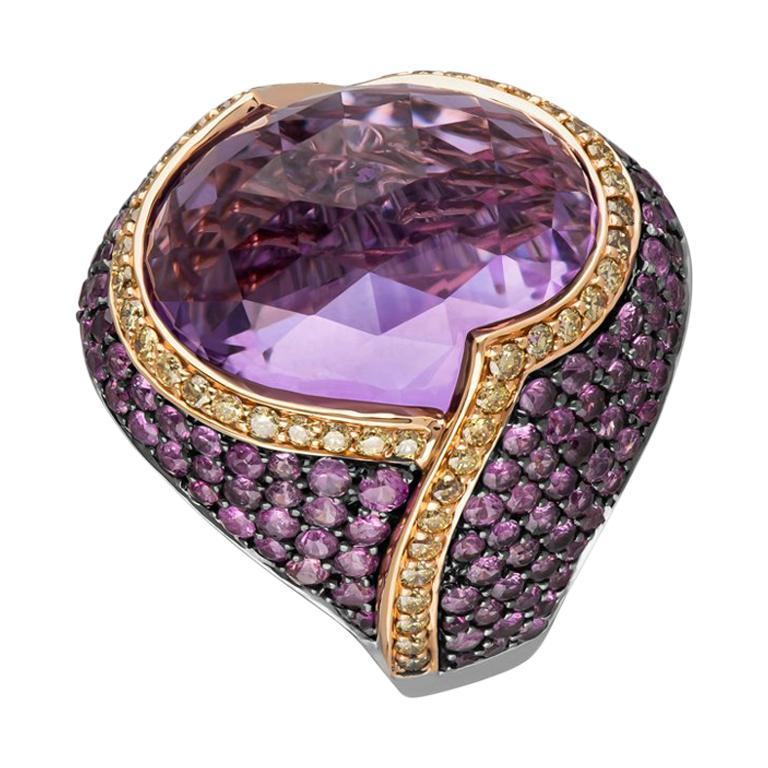 Zorab Creation 20.63 Faceted Amethyst Lion-Heart Ring For Sale