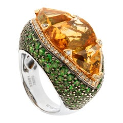 Zorab Creation 13.34 Carat Citrine Quartz Ellipsis Ring