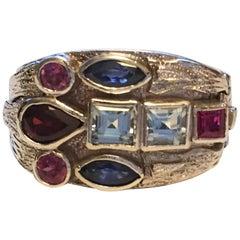 Multi-Color Precious and Semi Precious Ring