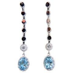 2.60 Carat Natural Aquamarines Diamonds Dangle Earrings 14 Karat
