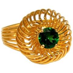 .77 Carat Natural Tsavorite Green Garnet Ring 18 Karat