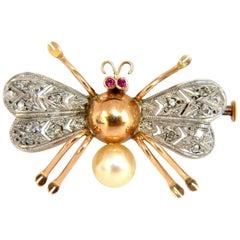 14 Karat 3D Real Life Spider Insect Brooch Pin Edwardian Deco Revival Vintage