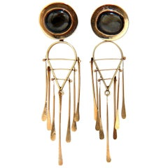 Art Deco Black Star Symbolic Dangle Earrings 14 Karat Dream Catcher