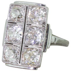 Art Deco 3.30 Carat Old Cut Diamond Plaque Ring
