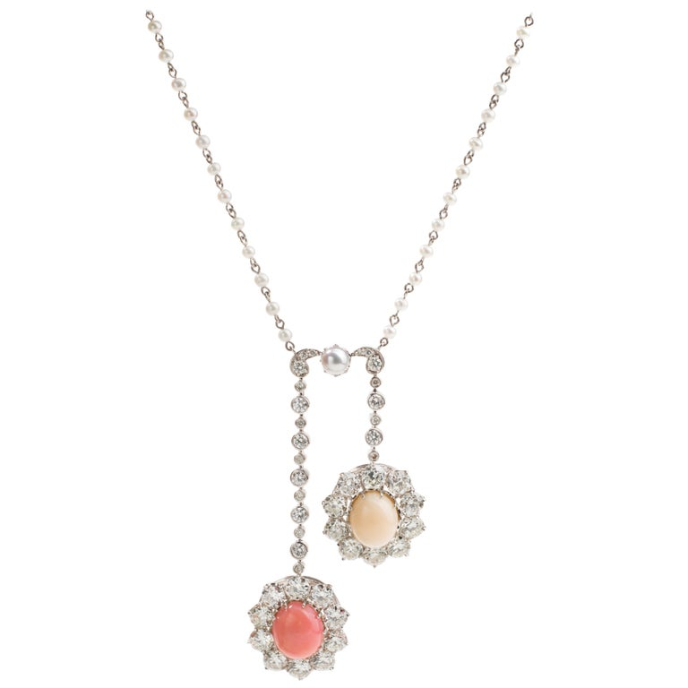 Conch Pearl, Diamond and Pearl 18 Karat Negligee Necklace