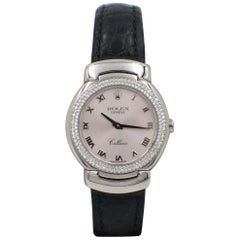Rolex Ladies Cellini 6671 18 Karat White Gold Diamond Bezel Pink Dial