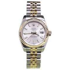 Rolex Ladies Datejust 179173 18 Karat Gold and Stainless Silver Dial Box Papers