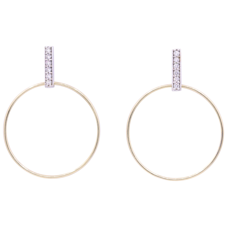 Diamond Hoop Earrings 0.33 Carat 14K White & Yellow Gold
