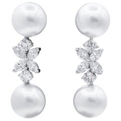 Platinum 4.03 Carat Diamond Floral and Pearl Drop Earrings