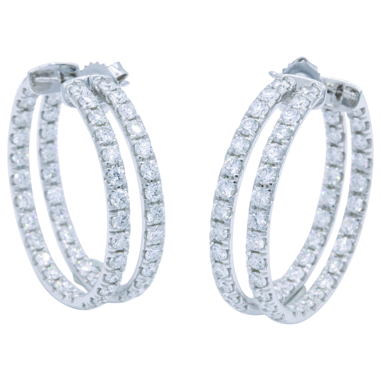 Double-Row Diamond Hoop Earrings 5.60 Carat 14K White Gold