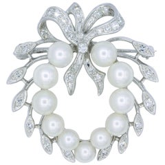 Vintage Diamond Pearl Bow Motif Brooch