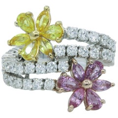 Diamond Floral Sapphire and Diamond Ring, 2.68 Carat