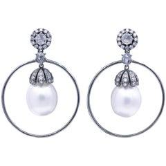 Diamond and Pearl Hoop Earrings, 1.58 Carat