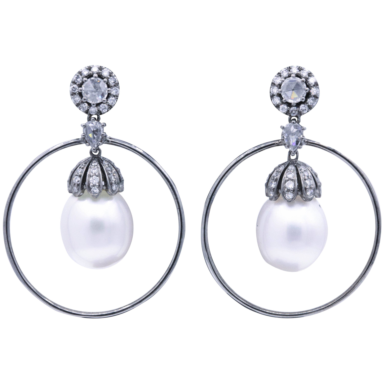 Diamond and Pearl Hoop Earrings 1.58 Carat 18K White Gold