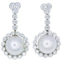 Diamond and Pearl Drop Earrings, 1.55 Carat