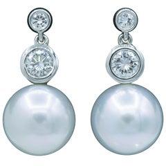 Diamond and Pearl Drop Earrings, 0.92 Carat