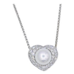 Diamond and Pearl Heart Necklace, 1.09 Carat